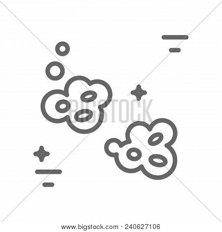 Asteroids Logo Made In Trendy Line Stile Vector. Space Series. Space Exploration And Adventure Symbo