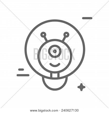 Alien Logo Made In Trendy Line Stile Vector. Space Series. Space Exploration And Adventure Symbol. E
