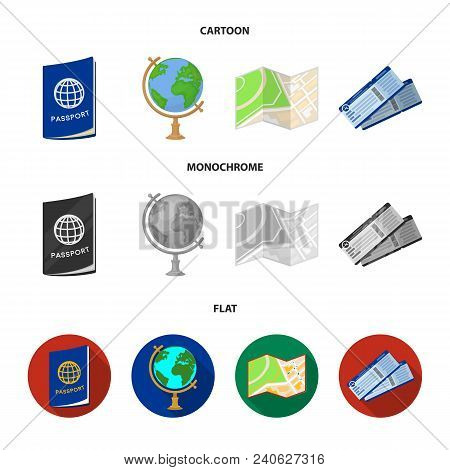 Vacation, Travel, Passport, Globe .rest And Travel Set Collection Icons In Cartoon, Flat, Monochrome