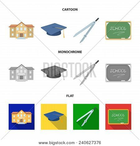 School Building, College With Windows, A Master Or Applicant Hat, Compasses For A Circle, A Board Wi