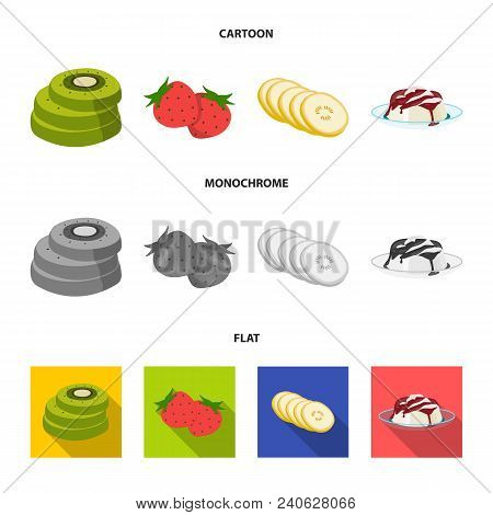 Fruits And Other Food. Food Set Collection Icons In Cartoon, Flat, Monochrome Style Vector Symbol St