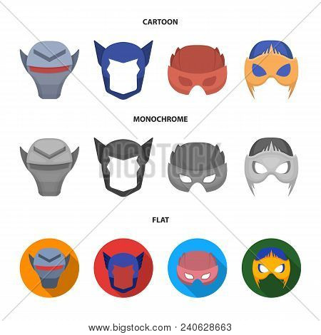 Helmet, Mask On The Head.mask Super Hero Set Collection Icons In Cartoon, Flat, Monochrome Style Vec