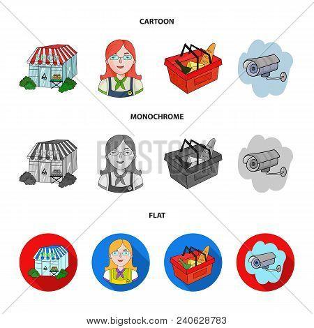 Salesman, Woman, Basket, Plastic .supermarket Set Collection Icons In Cartoon, Flat, Monochrome Styl