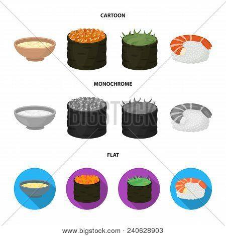 Bowl Of Soup, Caviar, Shrimp With Rice. Sushi Set Collection Icons In Cartoon, Flat, Monochrome Styl