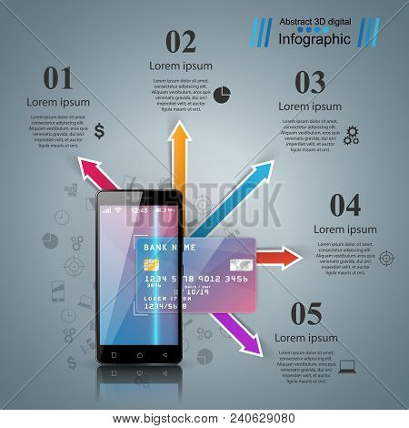 Bank, Card, Smartphone, Digital Gadget Icon Business Infographic Vector Eps 10