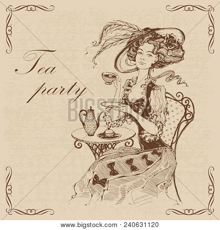 Beautiful Vintage Lady. Tea Party.inscription.  Girl In A Hat Drinking Tea. Engraving. Graphics. Bro