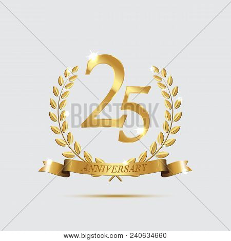 Golden Laurel Wreaths With Ribbons And Twenty Fifth Anniversary Year Symbol On Light Background. 25