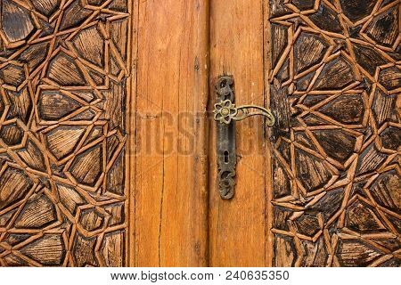 Detail Of A Wooden Door With Arab Ornaments At Emir Bachir Chahabi Palace Beit Ed-dine In Mount Leba