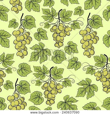 Seamless Background, Green Grape Bunches, Tile Pattern With Berries And Leaves. Vector
