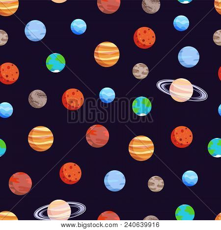 Celestial bodies collection, poster with seamless pattern and planets, Jupiter and Uranus, Earth and Pluto, vector illustration isolated on black poster