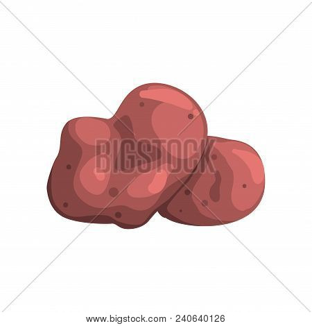Raw Whole Unpeeled Potato, Healthy Organic Food Concept Vector Illustration Isolated On A White Back