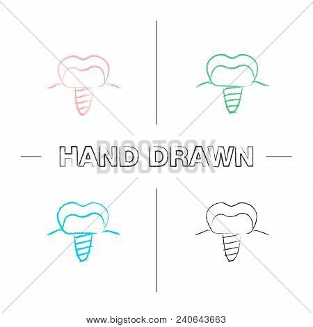 Dental Implant Hand Drawn Icons Set. Endosseous Implant. Color Brush Stroke. Isolated Vector Sketchy