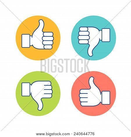 Thumb Up And Thumb Down Symbol, Finger Up Down Icon Vector Illustration. Like Unlike Sign Isolated O