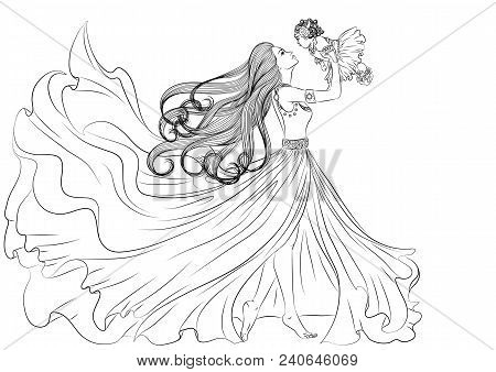 Illustration Of A Beautiful Young Girl In A Long Fluttering Dress And With Long Hair Holding A Littl