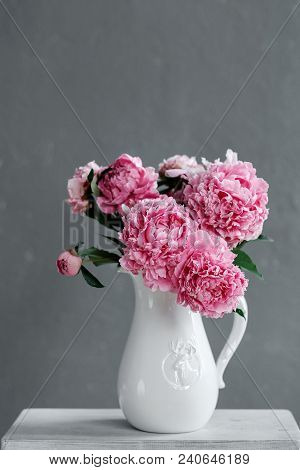 Bouquet Of Pink Peonies In A Vase