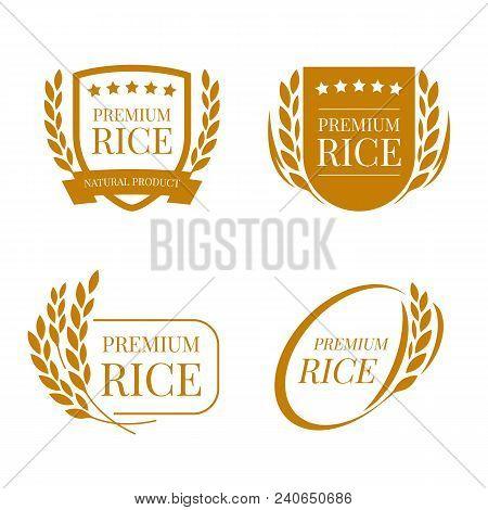 Brown Paddy Paddy Rice Premium Organic Natural Product Banner Logo Sign Vector Design