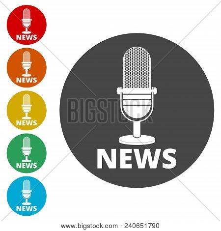 News Microphone Icon, Vector News Microphone Icons Set