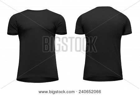 Blank Template Men Black T Shirt Short Sleeve, Front And Back View Bottom-up, Isolated On White Back