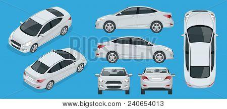 Set Of Sedan Cars. Compact Hybrid Vehicle. Eco-friendly Hi-tech Auto. Isolated Car, Template For Bra
