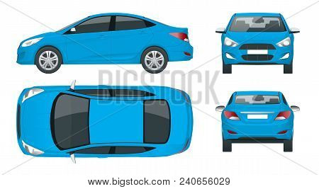 Set Of Sedan Cars. Compact Hybrid Vehicle. Eco-friendly Hi-tech Auto. Isolated Car, Template For Bra