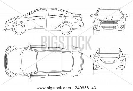 Set Of Sedan Cars In Outline. Compact Hybrid Vehicle. Eco-friendly Hi-tech Auto. Isolated Car, Templ