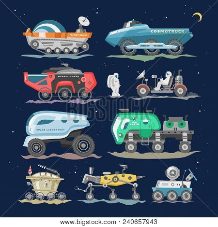 Spaceship Vector Lunar-rover Or Moon-rover And Spacecraft With Spaceman Exploring Moon Illustration