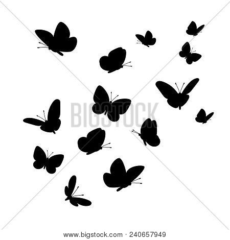 Flying Butterflies Silhouettes. Vector Butterfly Set Isolated On White Background For Design