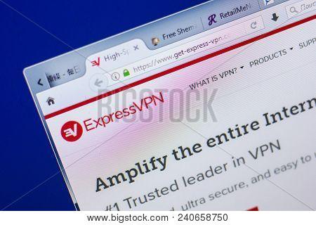 Ryazan, Russia - May 13, 2018: Get-express-vpn Website On The Display Of Pc, Url - Get-express-vpn.c