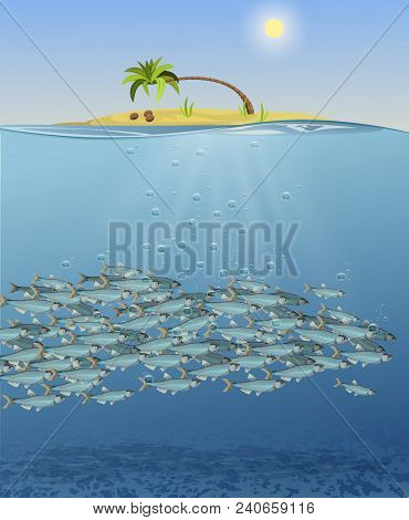 Vector Illustration Of The Sea Landscape, The Underwater World Of Fish. Image Of An Island With A Pa