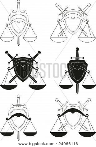 Set of emblems - shield, sword and scales - symbols of law, order, justice, court