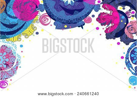 Festive Colorful Beautiful Vector Background With Mandala. Vintage Decorative Elements. Hand Drawn A
