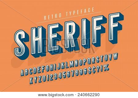 Sheriff Trendy Vintage Display Font Design, Alphabet, Typeface, Letters And Numbers, Typography. Swa