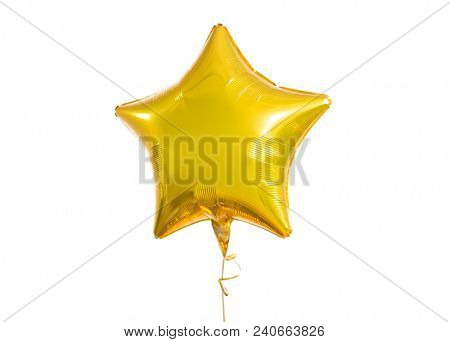 holidays, birthday party and decoration concept - close up of inflated helium star shaped balloon over white background