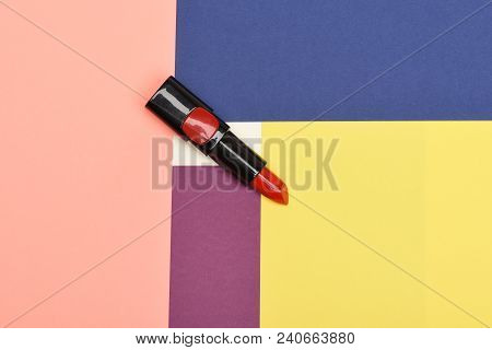 Beauty Supplies, Lipstick, Copy Space. Make Up Concept. Red Or Scarlet Lipstick Lay On White, Pink,