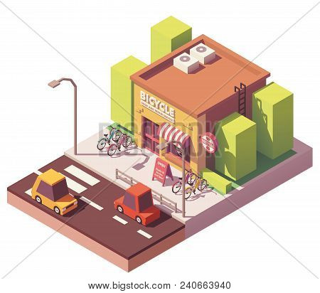 Vector Isometric Bicycle Shop And Repair Service Workshop Building With Bicycle Parking Rack