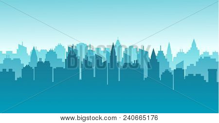 City Silhouette Land Scape. Horizontal City Landscape. Downtown Landscape With High Skyscrapers. Pan