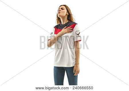Egyptian Female Fan Celebrating On White Background. The Young Woman In Soccer Football Uniform As W