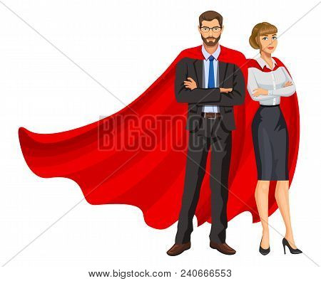 Superheroes Man And Woman In Red Capes, Team Of Superheroes, Business People Superheroes. Bearded Gu