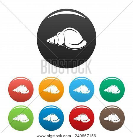 Marine Shell Icon. Simple Illustration Of Marine Shell Vector Icons Set Color Isolated On White