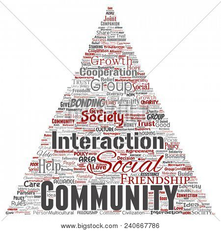 Conceptual community, social, connection triangle arrow red word cloud isolated background. Collage of group, teamwork, diversity, friendship, communication, inclusion, care, respect concept