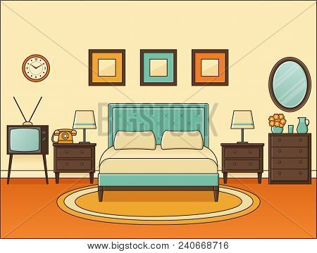 Room With Double Bed. Bedroom Retro Interior. Vector. Home Space In Flat Design. Cartoon Hotel Room.