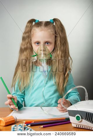 Treatment Procedure, Inhalation For Sick Child, On Gray Background