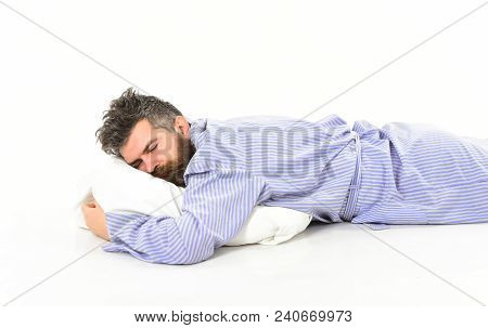 Man With Sleepy Face Lies On Pillow. Hipster With Beard And Mustache Sleep. Man With Messy Hair Slee
