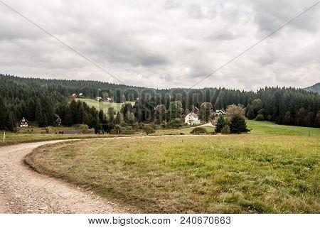 Dirt Road, Dispersed Settlement Of Vysni Mohelnice, Meadow And Forest In Autumn Moravskoslezske Besk
