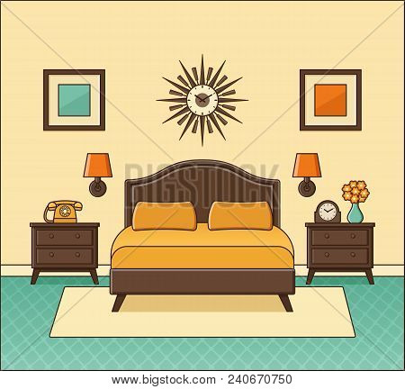Hotel Room With Double Bed. Bedroom Interior. Vector. Home Retro Space In Flat Design. Cartoon House