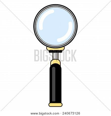 Magnifying Glass With Reflection Isolated On White Background. Magnify Icon In Flat Style Design. Ma
