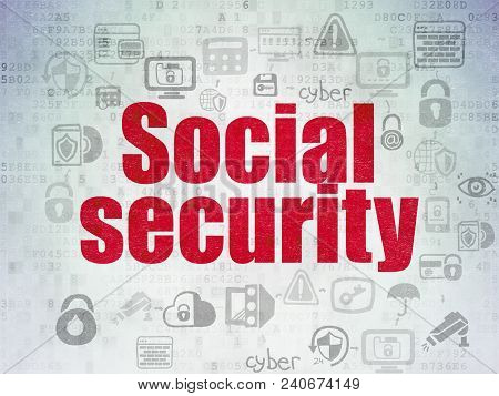 Safety Concept: Painted Red Text Social Security On Digital Data Paper Background With  Scheme Of Ha