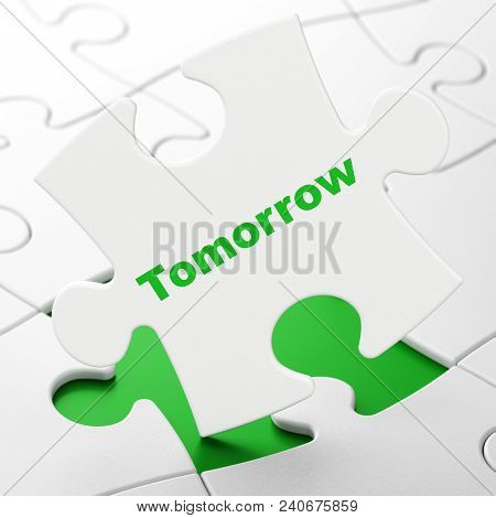 Time Concept: Tomorrow On White Puzzle Pieces Background, 3d Rendering