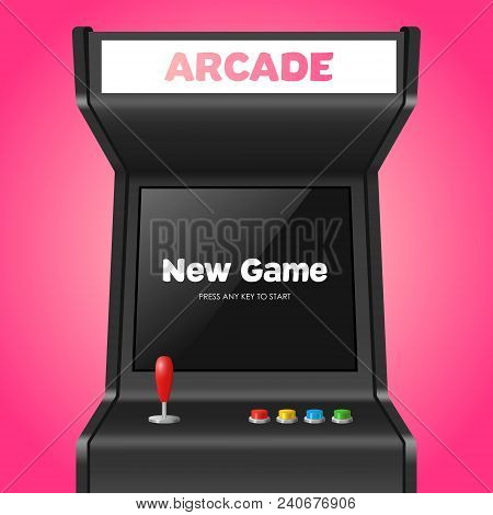 Realistic Detailed 3d Arcade Game Machine With Joystick And Console Recreation Geek Concept. Vector