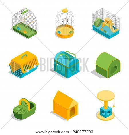 Pet Carriers Signs 3d Icons Set Isometric View Domestic Animal Portable Bag And Cage Concept. Vector